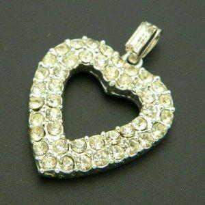 Clear Rhinestone Glass Heart Silver Tone Necklace